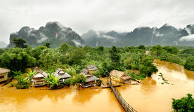 Floating river in vangvieng lao Royalty Free Stock Images