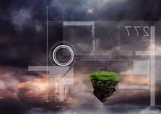 Floating rock platform with futuristic interface and sky clouds. Digital composite of Floating rock platform with futuristic interface and sky clouds Royalty Free Stock Photography