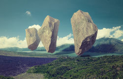 Floating rocks. In the sky over the lake. 3d combination illustration concept royalty free illustration