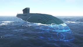 Floating russian submarine close up Stock Photos
