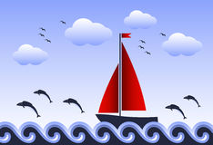 Floating sailboat and jumping fishes. Illustrated fishes jumping around sailboat floating on sea Royalty Free Stock Images