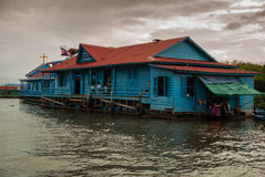 Floating School - Tonle Sap, Cambodia Stock Photo