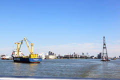 Floating sheerleg and shipping, Rotterdam, Holland Royalty Free Stock Photo