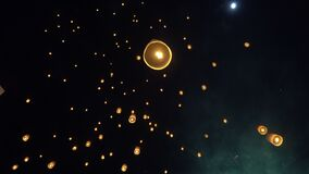 Floating sky lanterns in Chiang Mai ,Thailand