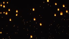 Floating sky lanterns in Chiang Mai ,Thailand stock footage