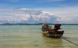 Floating small fishing boat, raya island Royalty Free Stock Photo