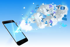 Floating smartphone application icons Royalty Free Stock Photo