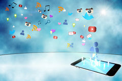 Floating smartphone application icons Royalty Free Stock Photography