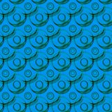 Water Balls Circles Seamless Pattern. Floating soap bold circles on a water blue background. Background seamless pattern texture Stock Photography