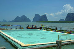 Floating soccer field at Panyee Island Stock Photo
