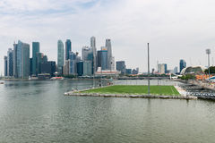 Floating soccer stadium in Marina Bay, Singapore Stock Photos