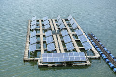 Floating Solar Energy Panels on a lake Stock Images