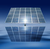 Floating solar panels. With a sun reflection on a blue sky and water background Stock Photography