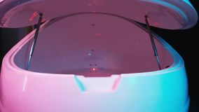Floating Spa tank bath. Sensory deprivation capsule. Health and welness concept.  stock video footage