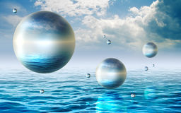 Floating spheres Royalty Free Stock Photos
