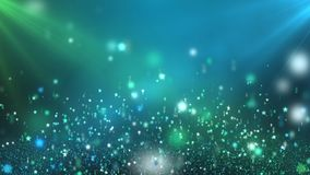 Floating Shining Stars Green and Blue Looping Motion Background