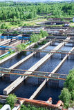 Floating surface aerators on sewage treatment plant Stock Images