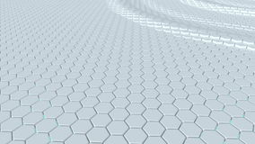 Floating surface made with hexagons. Loop ready animation stock video footage