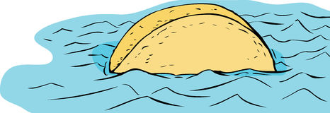 Floating Taco in Blue Water Stock Photo