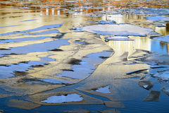 Floating thin ice on the river Stock Images