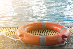 Floating tires on swiming pool Royalty Free Stock Photos