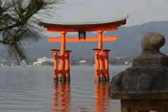 Floating torii gate Royalty Free Stock Image