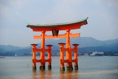 The Floating Torii, Miyajima, Japan. One of the most famous sight in Japan is the Floating Gate of itsukushima Shrine in Miyajima Royalty Free Stock Photography