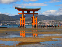 Floating torri gate in miyajima japan Stock Image