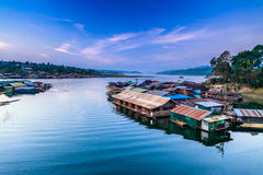 Floating Town in Sangklaburi Royalty Free Stock Image