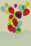 Floating Transparent Balloons. Balloons, background spots, foreground fills are all on separate layers. Transparent effect simulated royalty free illustration