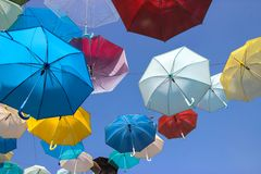 Floating Umbrellas with Blue Sky Background Royalty Free Stock Images