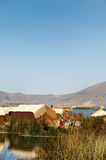 Floating Uros Island. On Lake Titicaca in Peru stock image