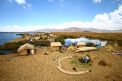 Floating Uros Island on Titicaca Lake, Peru Royalty Free Stock Image