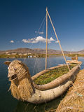 Floating Uros Islands. Floating Uros Island on Lake Titicaca in Peru Stock Photos