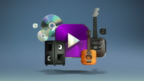 Floating various Music, instrument, download, VOD contents, Entertainment contents. stock footage
