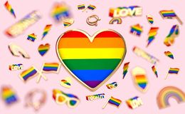 Floating various objects connected with gay pride and in the middle a big heart with rainbow pattern inside. LGBT issues. 3D. Render vector illustration