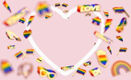 Floating various objects connected with gay pride on pastel pink background and copy space inside the heart shaped white frame. 3D. Render vector illustration