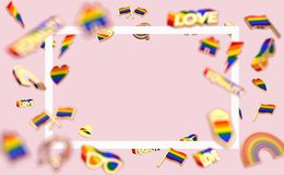 Floating various objects connected with gay pride on pastel pink background and copy space inside the rectangular white frame. 3D. Render stock illustration