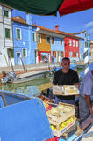 Floating vegetable market on Burano island, near Venice, Italy. Royalty Free Stock Photo