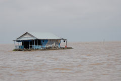 Floating Village. Of Chong Neas, Tonle Sap, Cambodia royalty free stock images