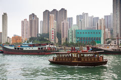 Floating village in the Aberdeen bay in Hong Kong Royalty Free Stock Photography