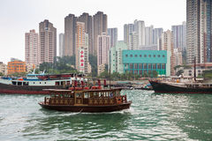 Floating village in the Aberdeen bay in Hong Kong Stock Image
