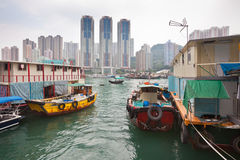 Floating village in the Aberdeen bay in Hong Kong Royalty Free Stock Images
