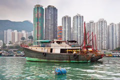 Floating village in the Aberdeen bay in Hong Kong Royalty Free Stock Image