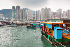 Floating village in the Aberdeen bay in Hong Kong Stock Photo