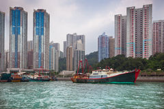 Floating village in the Aberdeen bay in Hong Kong Stock Photos