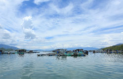 Floating village on a bay in Nha Trang, Vietnam Royalty Free Stock Images