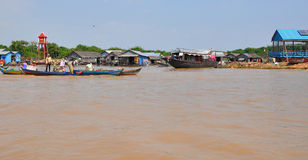 Floating village Cambodia. Royalty Free Stock Images