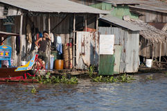 Floating village in Cambodia. Stock Image