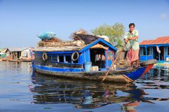 Floating village in Cambodia Royalty Free Stock Images